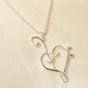 Genuine Silver Heart of Clefs Necklace in Gift Box